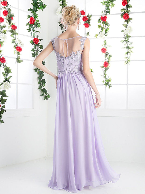 Illusion Scoop Neck Evening Dress by Cinderella Divine CF005-Long Formal Dresses-ABC Fashion