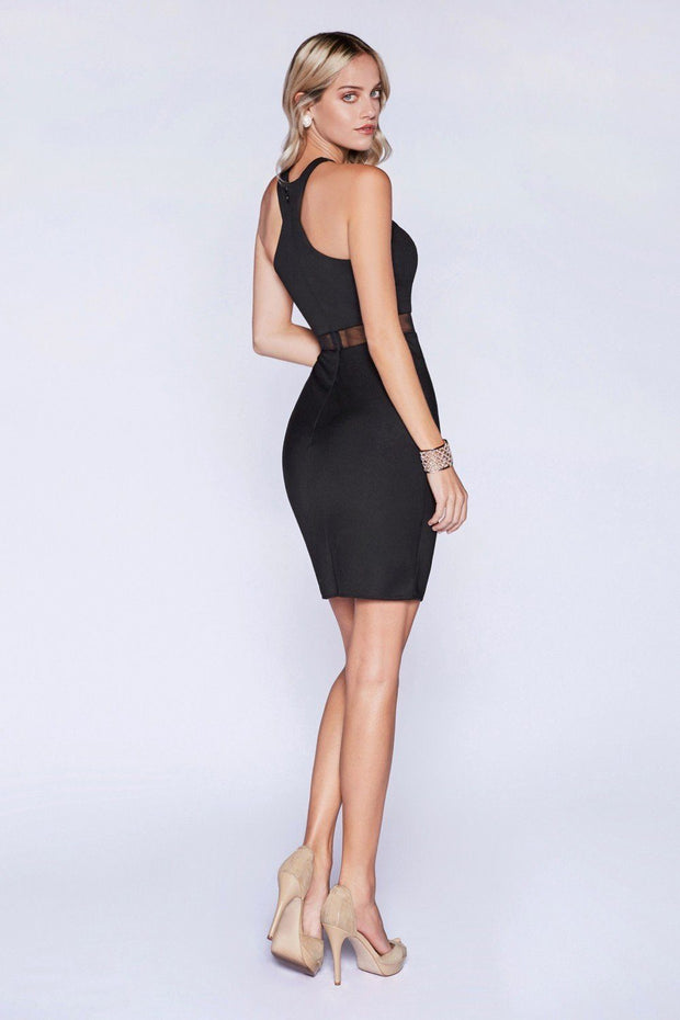 Illusion Short Mock Two Piece Dress by Cinderella Divine CF079S-Short Cocktail Dresses-ABC Fashion