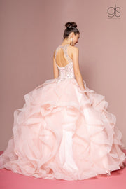 Illusion Sweetheart Ball Gown with Ruffled Skirt by Elizabeth K GL2518-Quinceanera Dresses-ABC Fashion