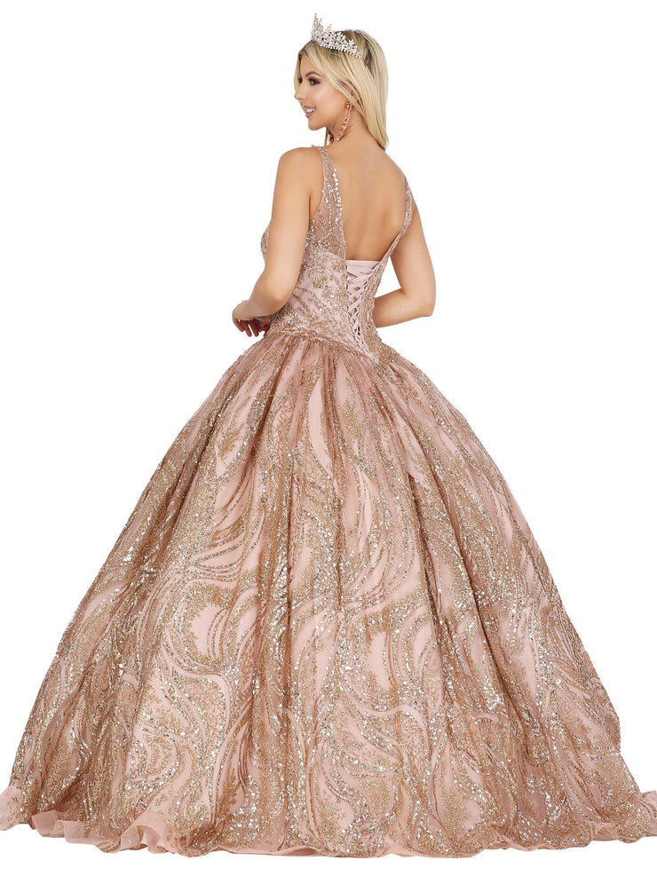 Illusion Sweetheart Glitter Ball Gown by Dancing Queen 1524
