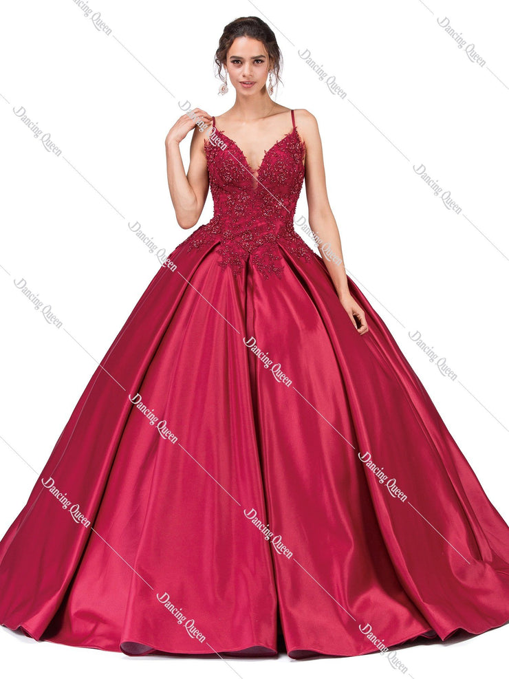Illusion V-Neck Ball Gown with Lace Appliques by Dancing Queen 1339-Quinceanera Dresses-ABC Fashion