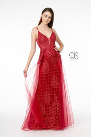Illusion V-Neck Glitter Mermaid Gown by Elizabeth K GL2924