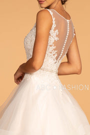 Illusion V-Neck Wedding Dress with Layered Skirt by Elizabeth K GL2599-Wedding Dresses-ABC Fashion