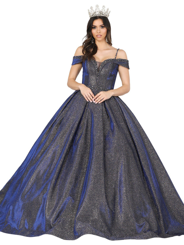 Iridescent Glitter Cold Shoulder Ball Gown by Dancing Queen 1506