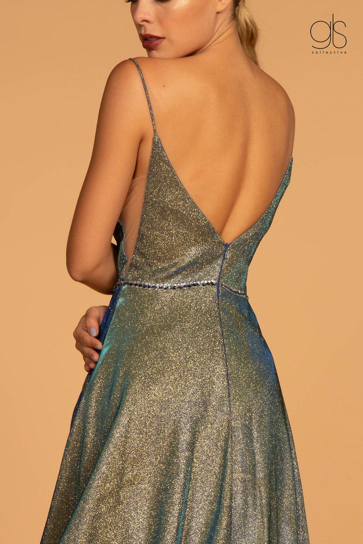 Iridescent Glitter Long A-line Dress by Elizabeth K GL2644-Long Formal Dresses-ABC Fashion