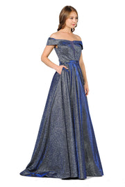 Iridescent Glitter Long Off the Shoulder Dress by Poly USA 8484-Long Formal Dresses-ABC Fashion