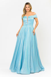 Iridescent Glitter Long Off the Shoulder Dress by Poly USA 8464