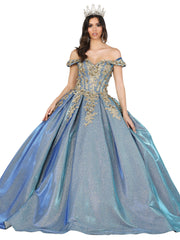 Iridescent Glitter Off Shoulder Ball Gown by Dancing Queen 1504