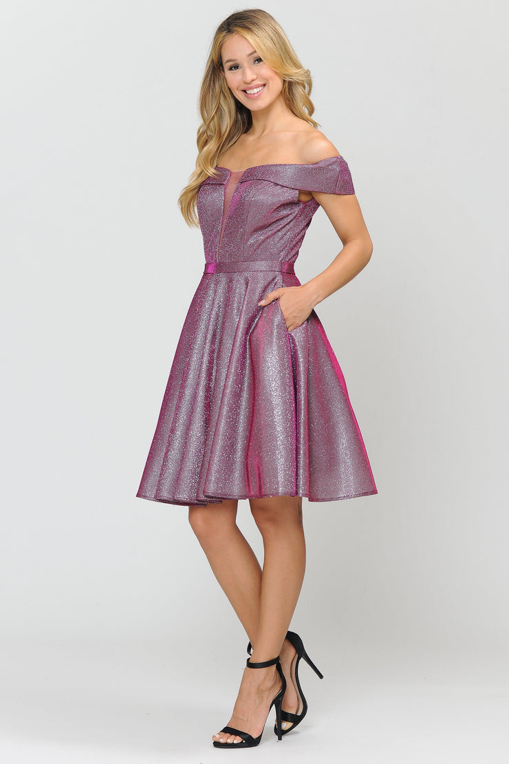 Iridescent Glitter Short Off the Shoulder Dress by Poly USA 8224-Short Cocktail Dresses-ABC Fashion