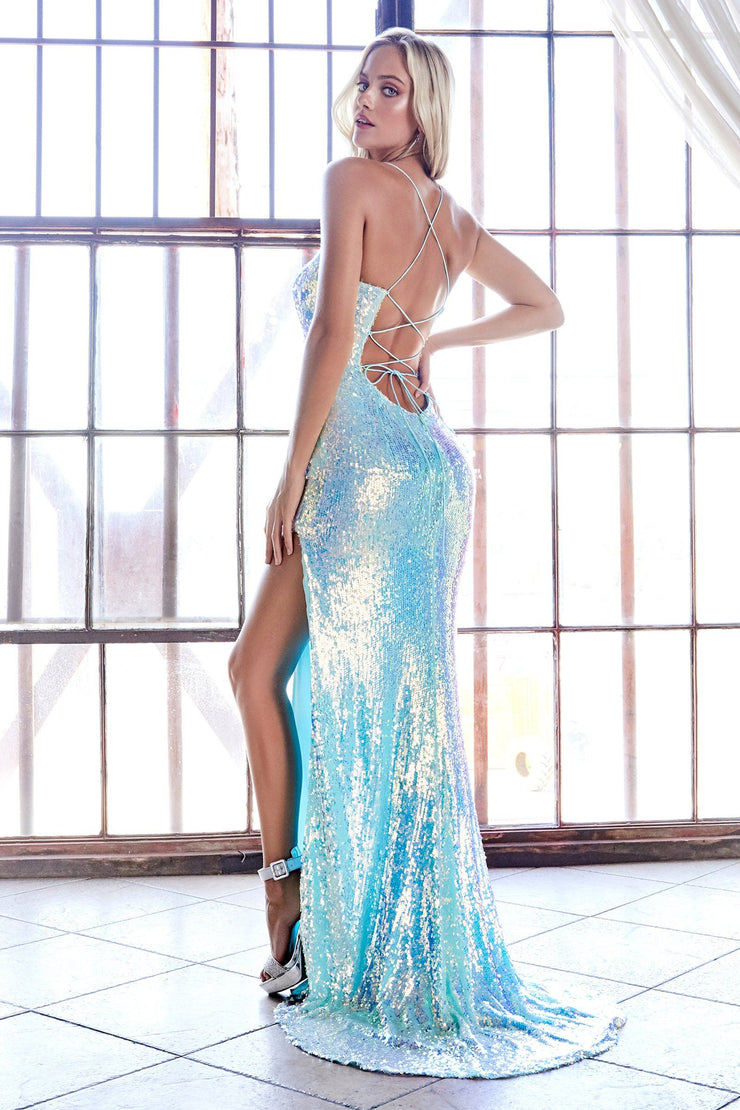 Iridescent Sequin Fitted Gown by Cinderella Divine CDS395