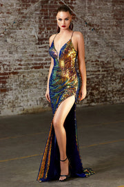Iridescent Sequin Gown with Corset Back by Cinderella Divine CDS393