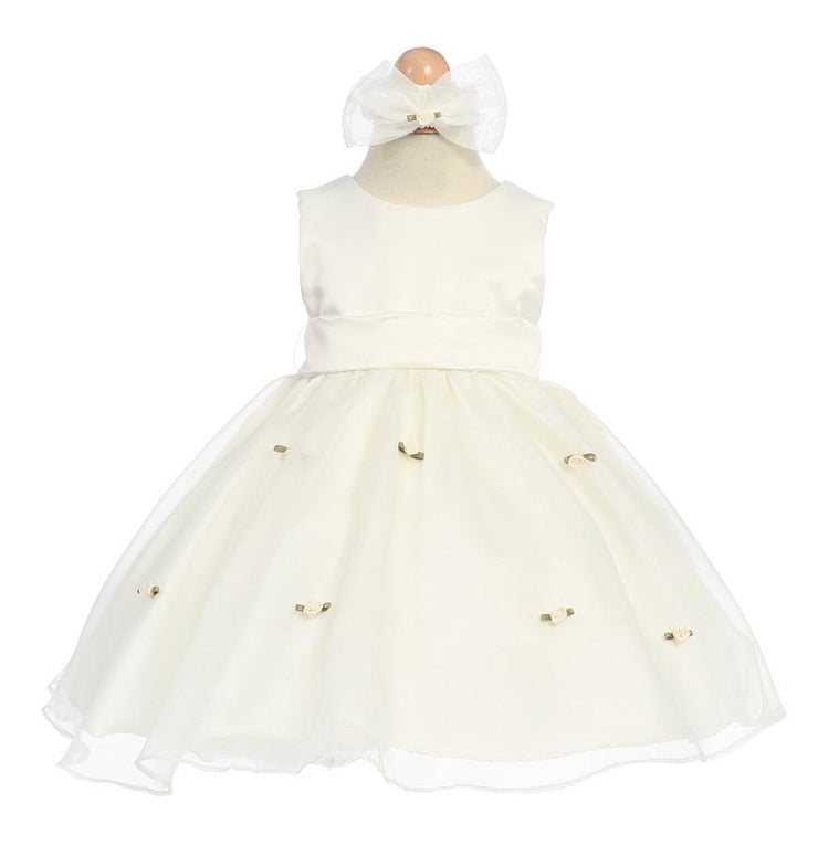 Ivory Baby Dresses with Ivory Sash/Flowers-Girls Formal Dresses-ABC Fashion