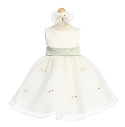 Ivory Baby Dresses with Sage Sash/Flowers-Girls Formal Dresses-ABC Fashion