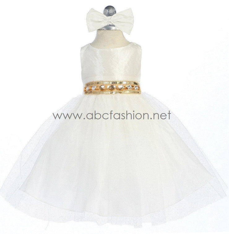 Ivory Baby Girl Dress with Tulle Skirt - 10 Colors-Girls Formal Dresses-ABC Fashion