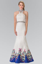 Ivory Mermaid Dress with Blue Floral Print by Elizabeth K GL2218-Long Formal Dresses-ABC Fashion