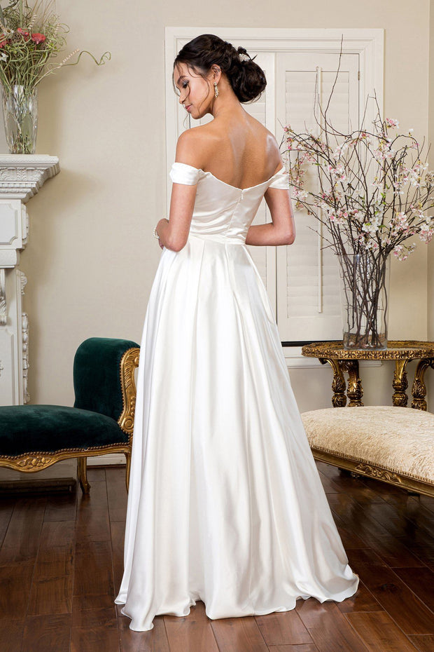 Ivory Off Shoulder Satin Gown by Elizabeth K GL1908
