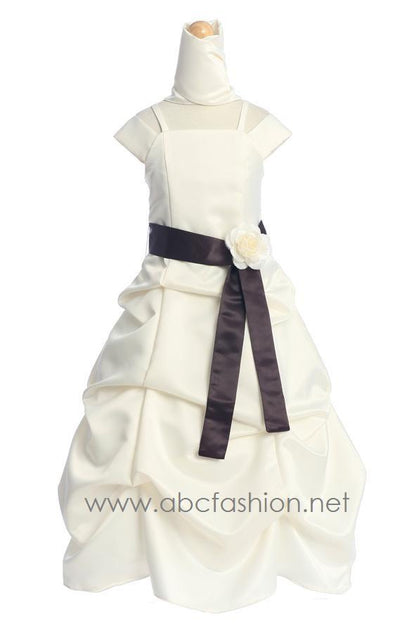 Ivory Satin Pick Up Dress with Chocolate Sash-Girls Formal Dresses-ABC Fashion