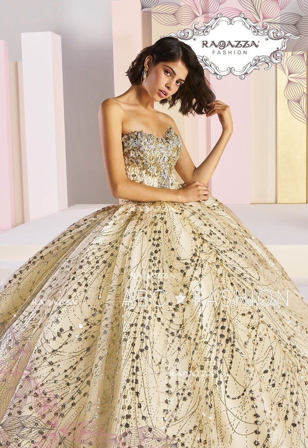 Ivory Strapless Glitter Quinceanera Dress by Ragazza Fashion DV05-505-Quinceanera Dresses-ABC Fashion