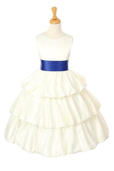 Ivory Tea Length Flower Girl Dresses with Sash-Girls Formal Dresses-ABC Fashion