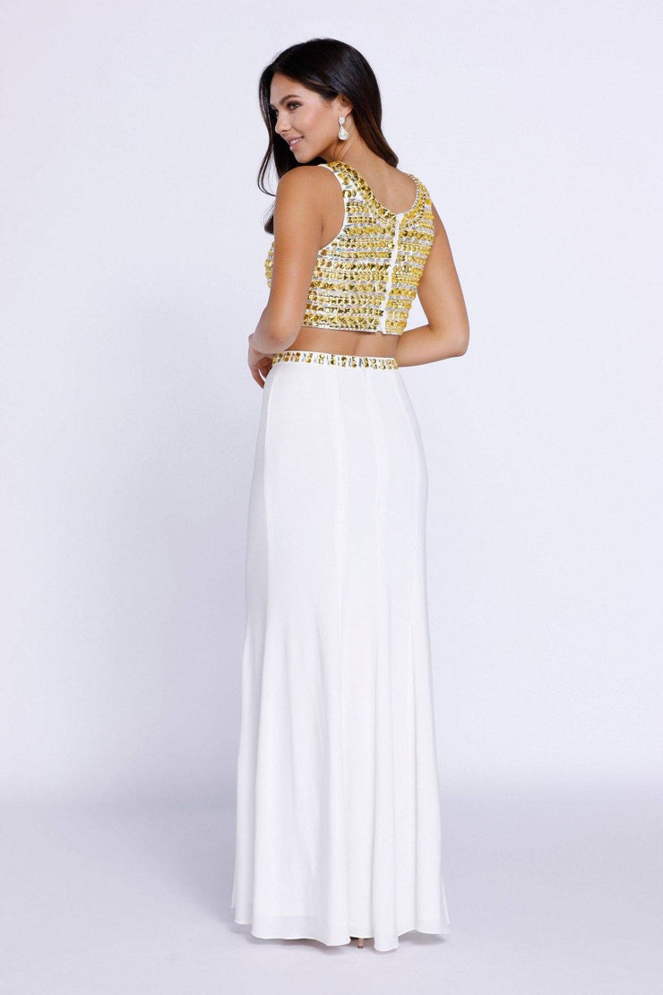 Ivory Two-Piece Crop Top Dress with Gold Beads by Nox Anabel 8183-Long Formal Dresses-ABC Fashion