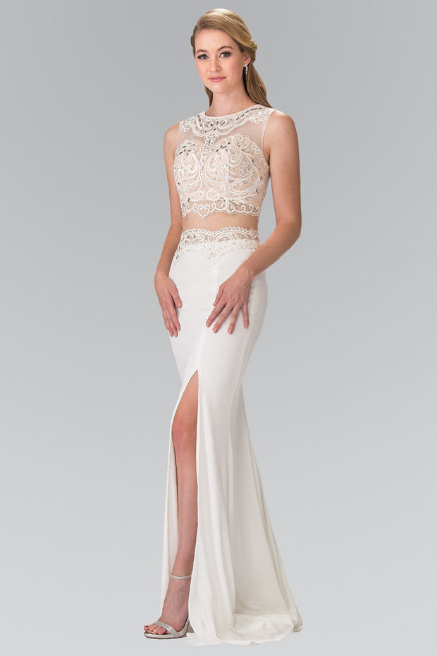 Ivory Two-Piece Dress with Lace Top by Elizabeth K GL2373-Long Formal Dresses-ABC Fashion