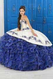 Ivory/Blue Strapless Floral Charro Dress by House of Wu LA Glitter 24042-Quinceanera Dresses-ABC Fashion