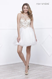 Ivory/Gold Short Beaded Sleeveless Illusion Dress by Nox Anabel 6271-Short Cocktail Dresses-ABC Fashion