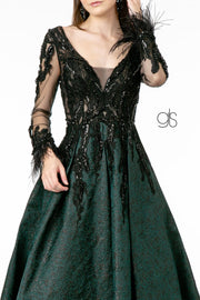Jacquard Print Gown with Long Sleeves by Elizabeth K GL1833