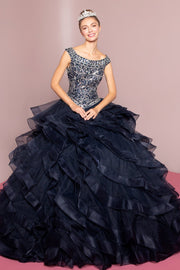 Jeweled Cap Sleeve Ball Gown with Layered Skirt by Elizabeth K GL1600-Quinceanera Dresses-ABC Fashion