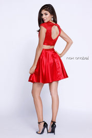 Jeweled Cap Sleeve Short Two Piece Dress by Nox Anabel 6216-Short Cocktail Dresses-ABC Fashion