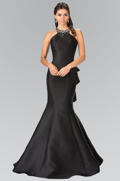 Jeweled Collar Ruffled Mermaid Dress by Elizabeth K GL2353-Long Formal Dresses-ABC Fashion