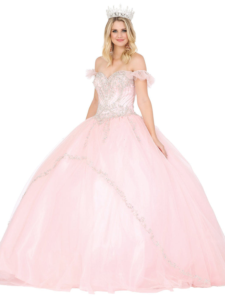 Jeweled Flutter Sleeve Ball Gown by Dancing Queen 1434