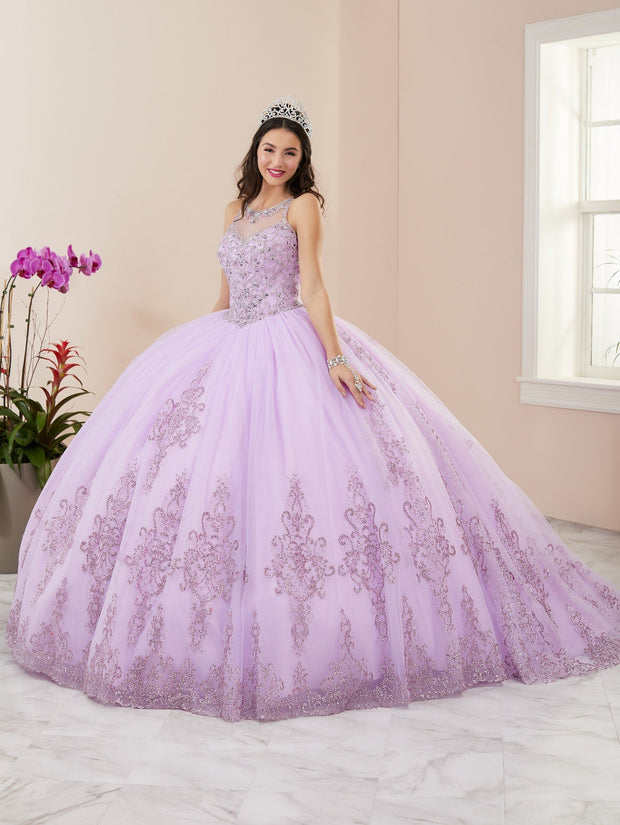 Jeweled Glitter Illusion Quinceanera Dress by House of Wu 26958