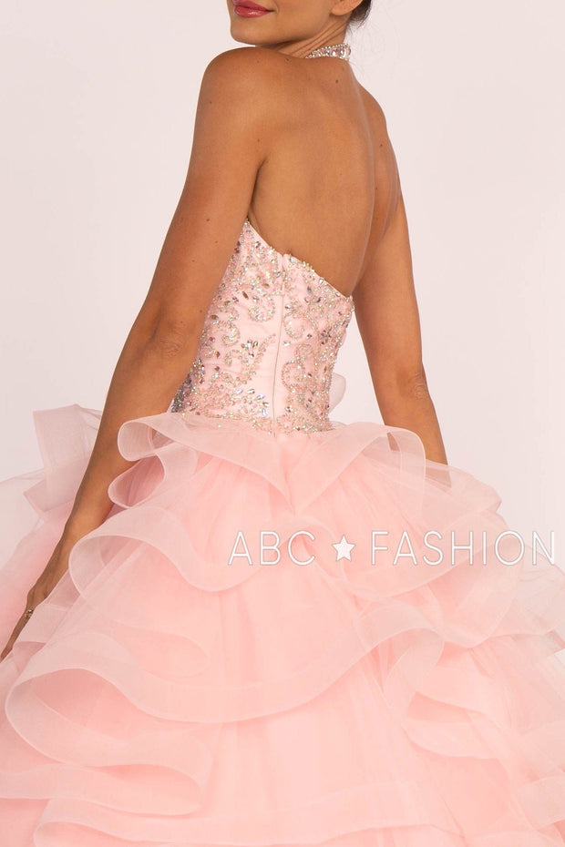 Jeweled Halter Ball Gown with Layered Skirt by Elizabeth K GL2512-Quinceanera Dresses-ABC Fashion