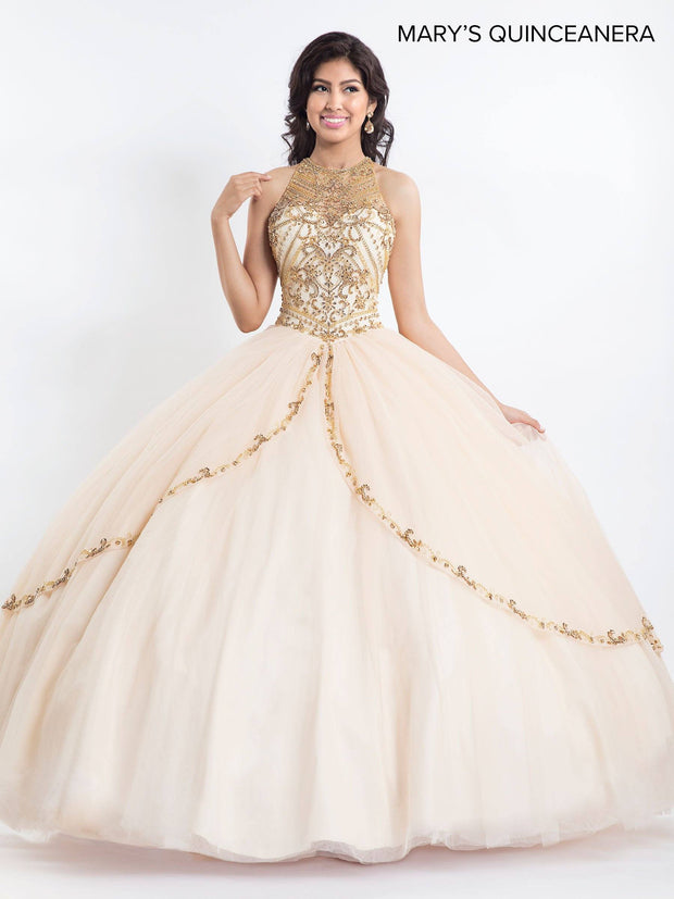 Jeweled Halter Quinceanera Dress by Mary's Bridal M4Q2021-Quinceanera Dresses-ABC Fashion