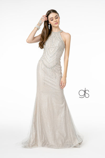 Jeweled High-Neck Glitter Trumpet Dress by Elizabeth K GL1841