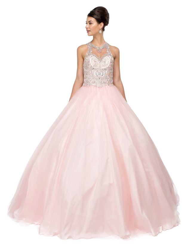 Jeweled Illusion A-line Ball Gown by Dancing Queen 1106-Quinceanera Dresses-ABC Fashion