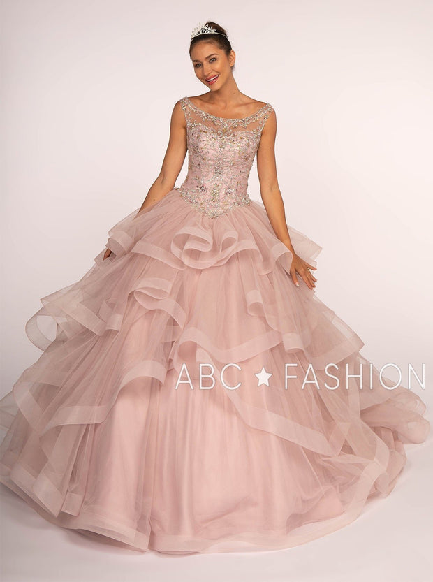 Jeweled Illusion Ball Gown with Layered Skirt by Elizabeth K GL2517-Quinceanera Dresses-ABC Fashion