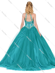 Jeweled Illusion Halter Ball Gown by Dancing Queen 1274-Quinceanera Dresses-ABC Fashion