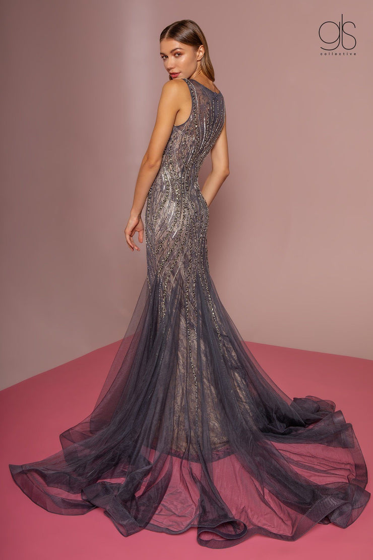 Jeweled Lace Trumpet Dress with Sheer Back by GLS Gloria GL2684-Long Formal Dresses-ABC Fashion