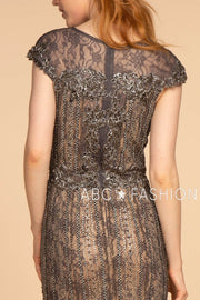 Jeweled Long Cap Sleeve Lace Dress by Elizabeth K GL2533-Long Formal Dresses-ABC Fashion