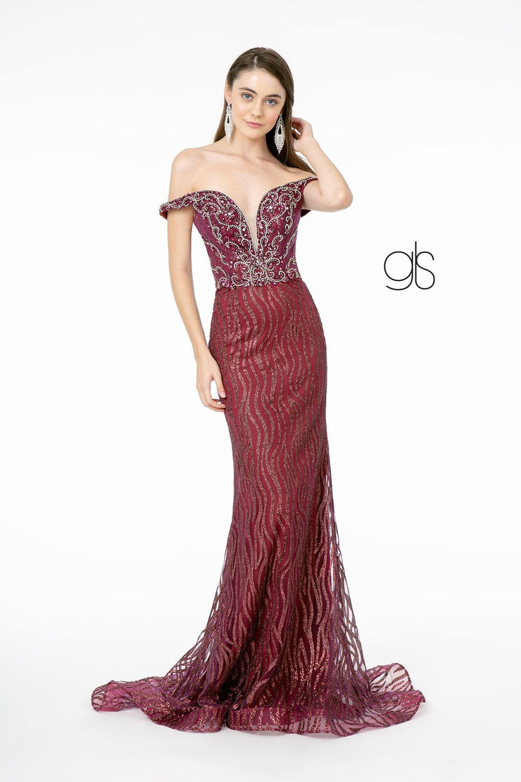 Jeweled Long Off Shoulder Glitter Dress by Elizabeth K GL1818