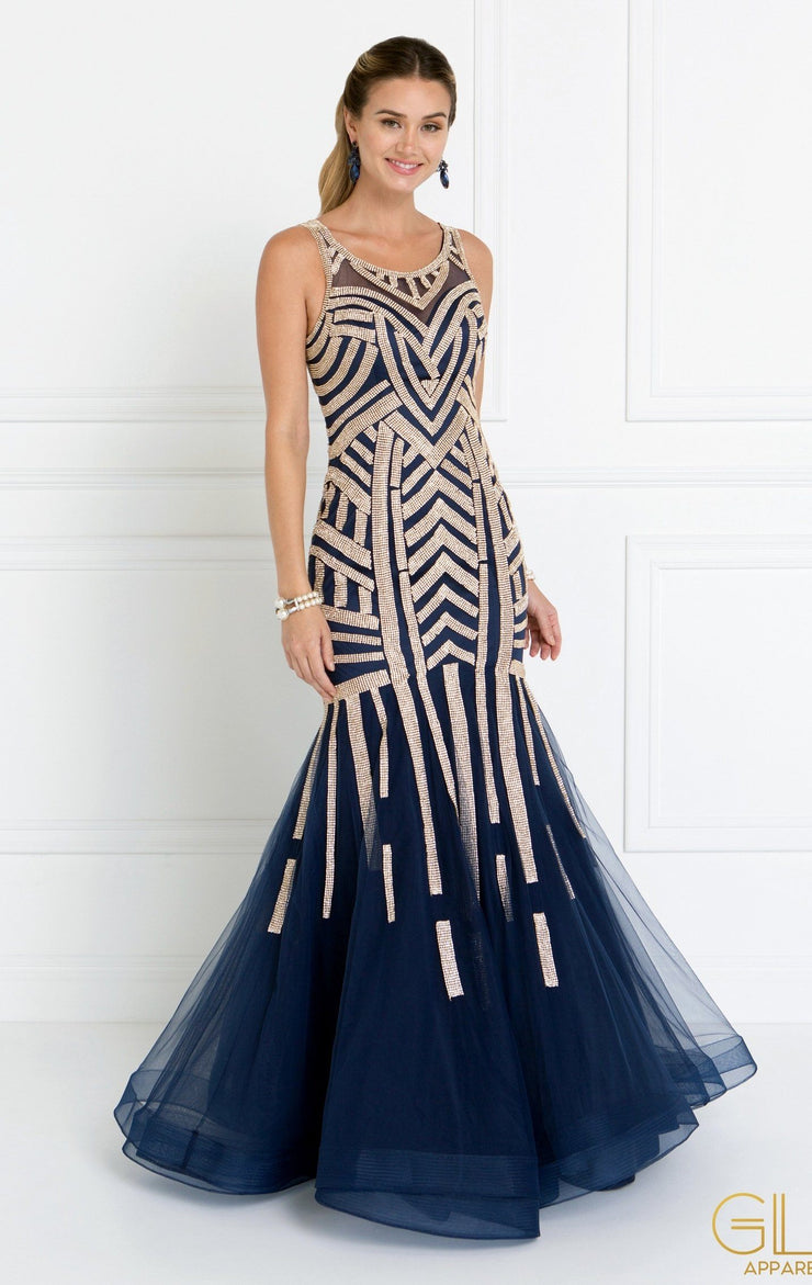 Jeweled Navy Sleeveless Mermaid Gown by Elizabeth K GL1541-Long Formal Dresses-ABC Fashion