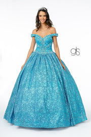 Jeweled Off the Shoulder Ball Gown by Elizabeth K GL1821
