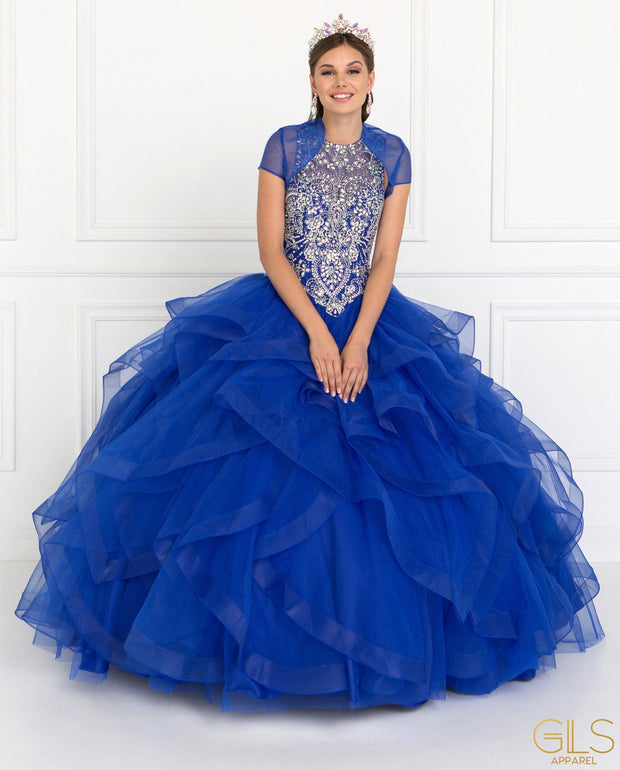Jeweled Ruffled Ball Gown with Bolero Jacket by Elizabeth K GL1553-Quinceanera Dresses-ABC Fashion