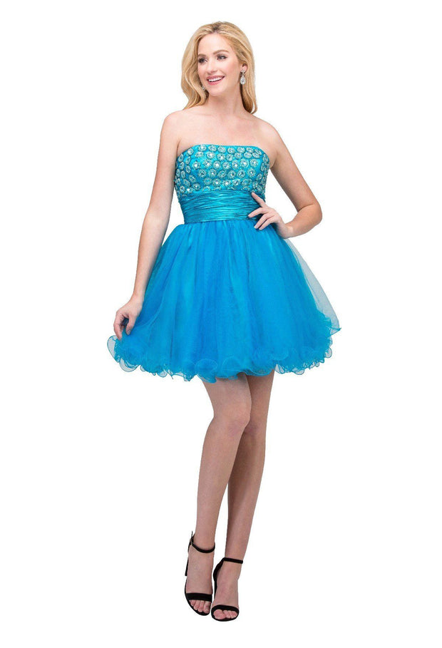 Jeweled Short Strapless Dress with Ruffled Skirt by Star Box 5116-Short Cocktail Dresses-ABC Fashion
