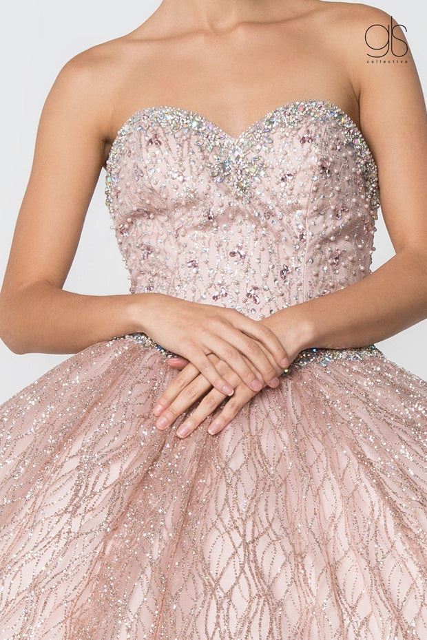 Jeweled Strapless Glitter Ball Gown with Cape by Elizabeth K GL2801-Quinceanera Dresses-ABC Fashion