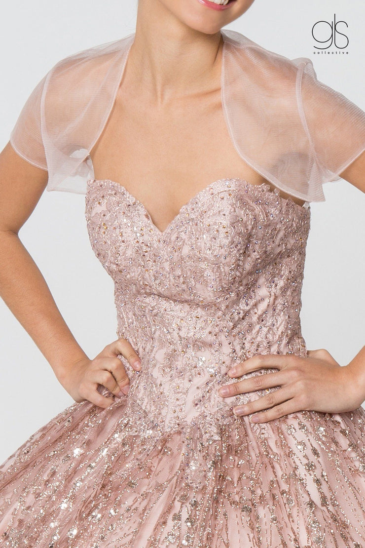 Jeweled Strapless Glitter Ball Gown with Jacket by Elizabeth K GL2804-Quinceanera Dresses-ABC Fashion
