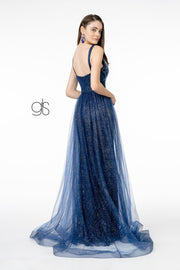 Jeweled V-Neck Gown with Glitter Overskirt by Elizabeth K GL1840