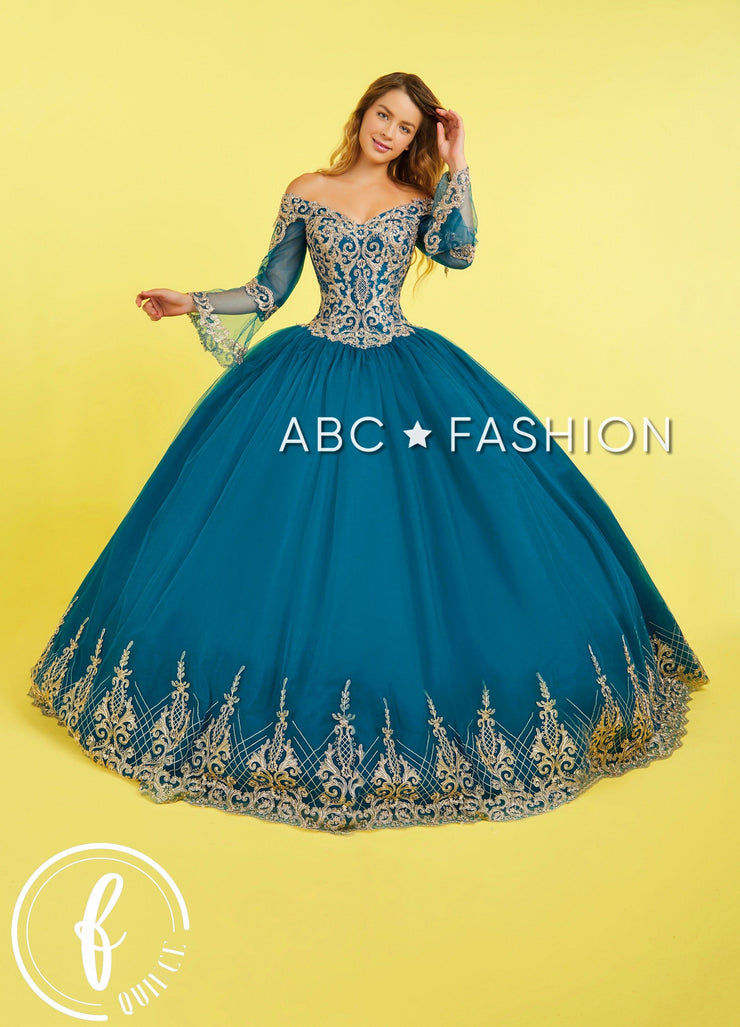 Lace Applique Bell Sleeve Quinceanera Dress by Forever Quince FQ826